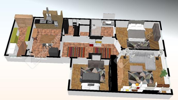 1. kép   Alaprajz 3D   Eladó Társasházi lakás, Szeged (#143448)